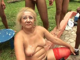 Brazillian Group sex Granny