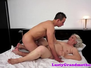 European grandma spooned and titfucked