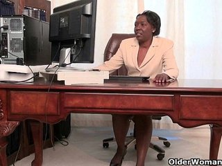 Office grannies Amanda and Penny undress off and play