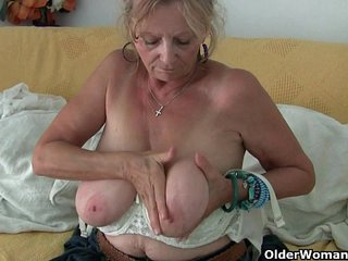 Huge facialed granny Isabel needs to get off in pantyhose