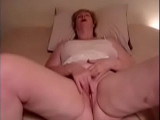 Grandma caress her love button to ejaculation