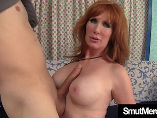 Mature Redhead nails young guy