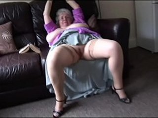 Granny shows off her huge knockers and hairy vagina