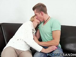 Ash-blonde granny loving young hard-on
