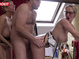 Blond German Granny gets fucked in hardcore Threesome