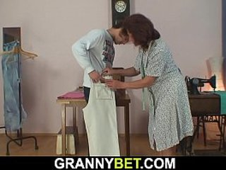 Old granny tailoress and young customer fuck