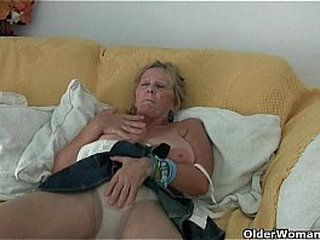 Granny with big tits masturbates in tights
