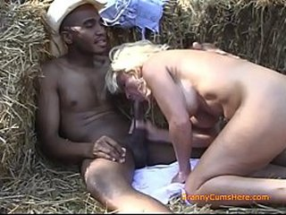 Granny Wants Some Big Black Shaft in the Hay