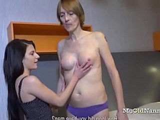 Wild lady with a cute lush ball-sac enjoys to do deviant stuff with an aged granny