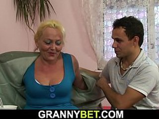 He picks up and doggy-fucks blond granny