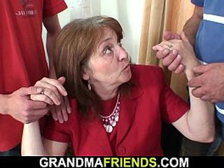 2 dudes fucking old granny in the mouth