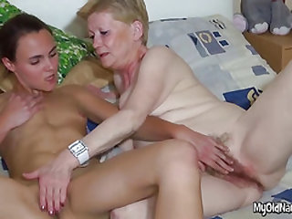 Sapphic Granny Has Fur covered Beaver Rubbed