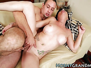 Tattooed granny hitting on cum load
