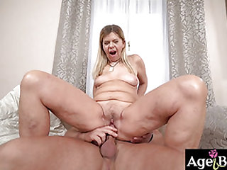 Granny Samantha lets Mugur in and out of her labia before he cums