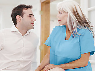Old and Grey Doc Loves Her Much Younger Client's Company