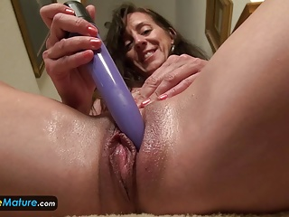 EUROPEMATURE Dearest granny Rose solo masturbation