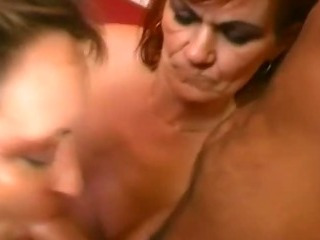 Redhead granny sharing a new shaft
