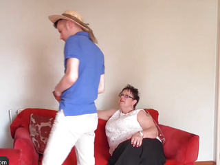 Youthfull gardener Sam Bourne with large pecker is too working on big beautiful chick granny