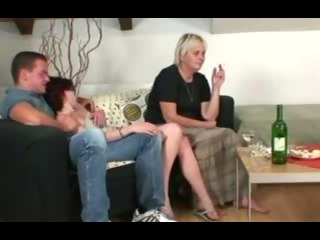 Orgy with horny granny and her son in law