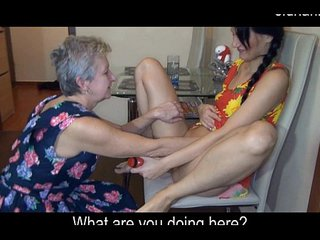 kitchen sex. granny and youthful
