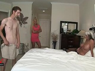Young man sticks his meat to mother and granny  MILFs  in family affair