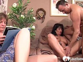 Naughty dude gets to nail a younger babe as his granny watches and joins sometimes.