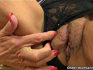 British granny Georgie Nylons dildos her nuts and pussy