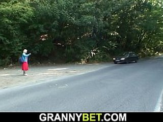70 years old light-haired granny picked up and fucked