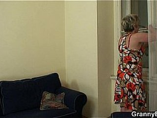 Hot man shines lonely 60 years old granny