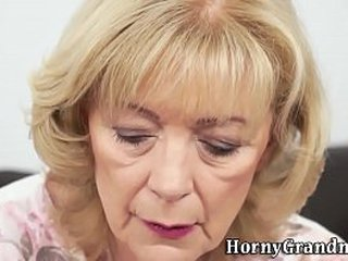 Nice old grannie lets boy deepthroat her and enjoys