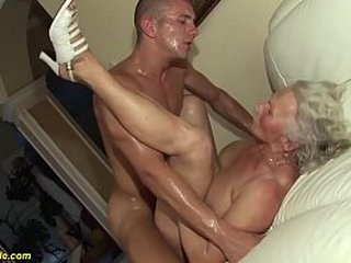 chesty hairy 75 years old granny mom enjoys her first tough porn flick with a young toyboy