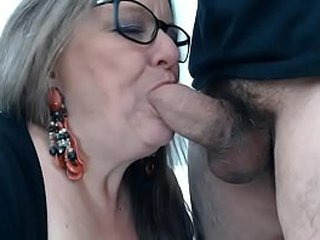 See her live on: Vexcams.com Nasty granny enjoyes sucking cock