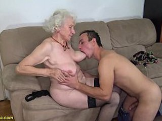 chubby 91 years old hairy granny norma with big saggy knockers gets tough fucked by her youthful big cock toyboy