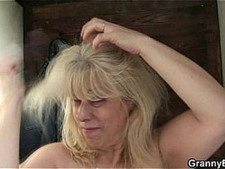 Light-haired granny gets nailed by a stranger
