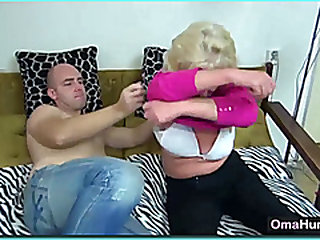 Granny goes down on stud with a dildo
