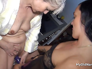 Sapphic granny plays with babe