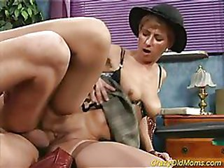 Doggy porno with old mother