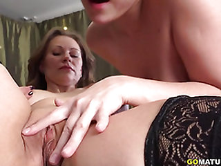Hot stunner having joy with a horny mature lezzie at the pool table