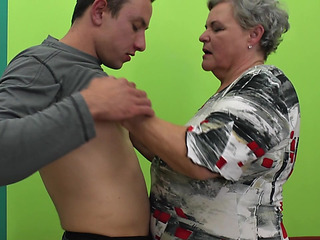 Chubby Granny Widens Her Legs For The Fit Endowed To Nail Her Hard