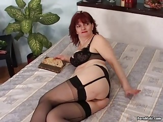 Redhead granny practicing anal hookup