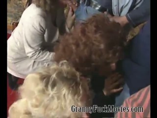 Huge granny fuckparty at home